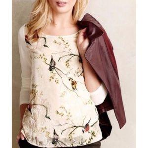 Anthro Deletta Bird Song Velvet Burnout Shirt